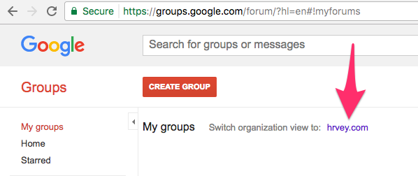 Switch to organization for group